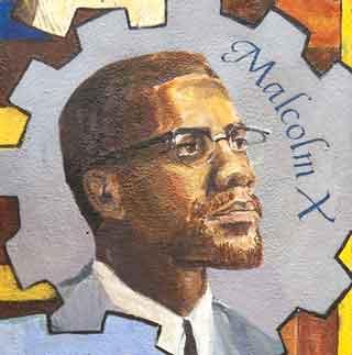 Malcolm x in the talking mural la lucha continua in sf for Malcolm x mural